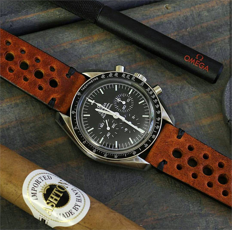 58508e5e9a 20mm Vintage Rally Racing Watch Strap Band on a Omega Speedmaster moonwatch  BandRBands