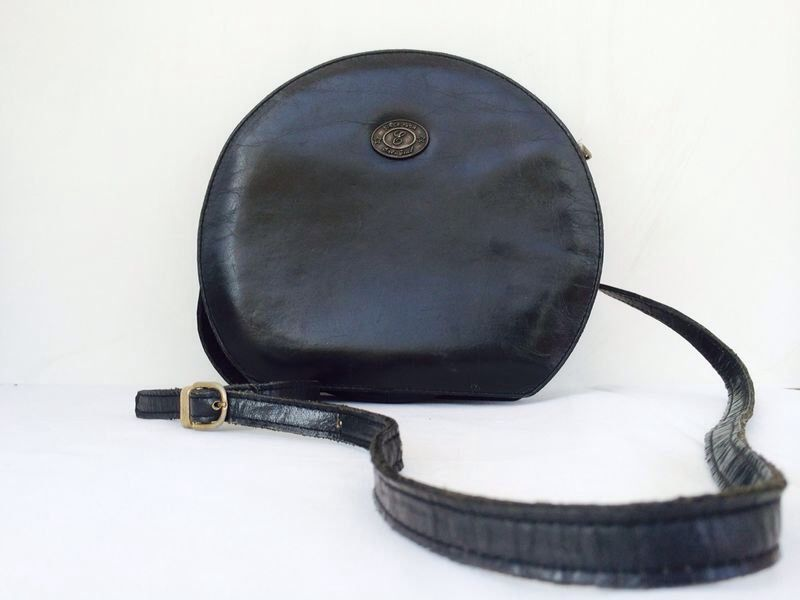 Vintage Round Leather Bag - Black Shoulder Bag - Women's Cross body Purse - Every day bag - Chic Purse with an adjustable strap