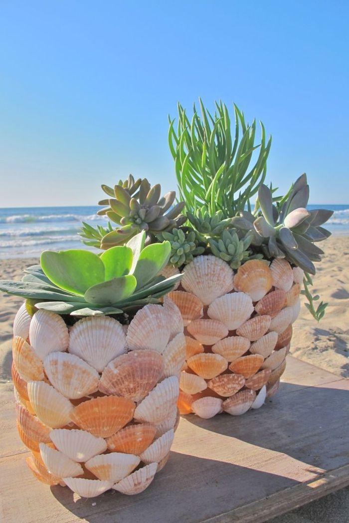 Topfpflanzen muscheln dekoration strand see sand sommer - Sommer dekoration basteln ...