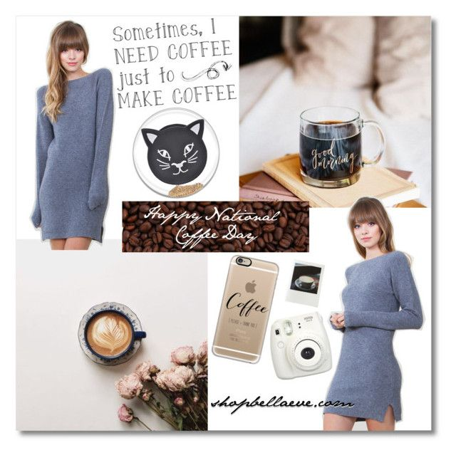 """""""Happy National Coffee Day!"""" by bellaeve ❤ liked on Polyvore featuring moda, Casetify e Polaroid"""