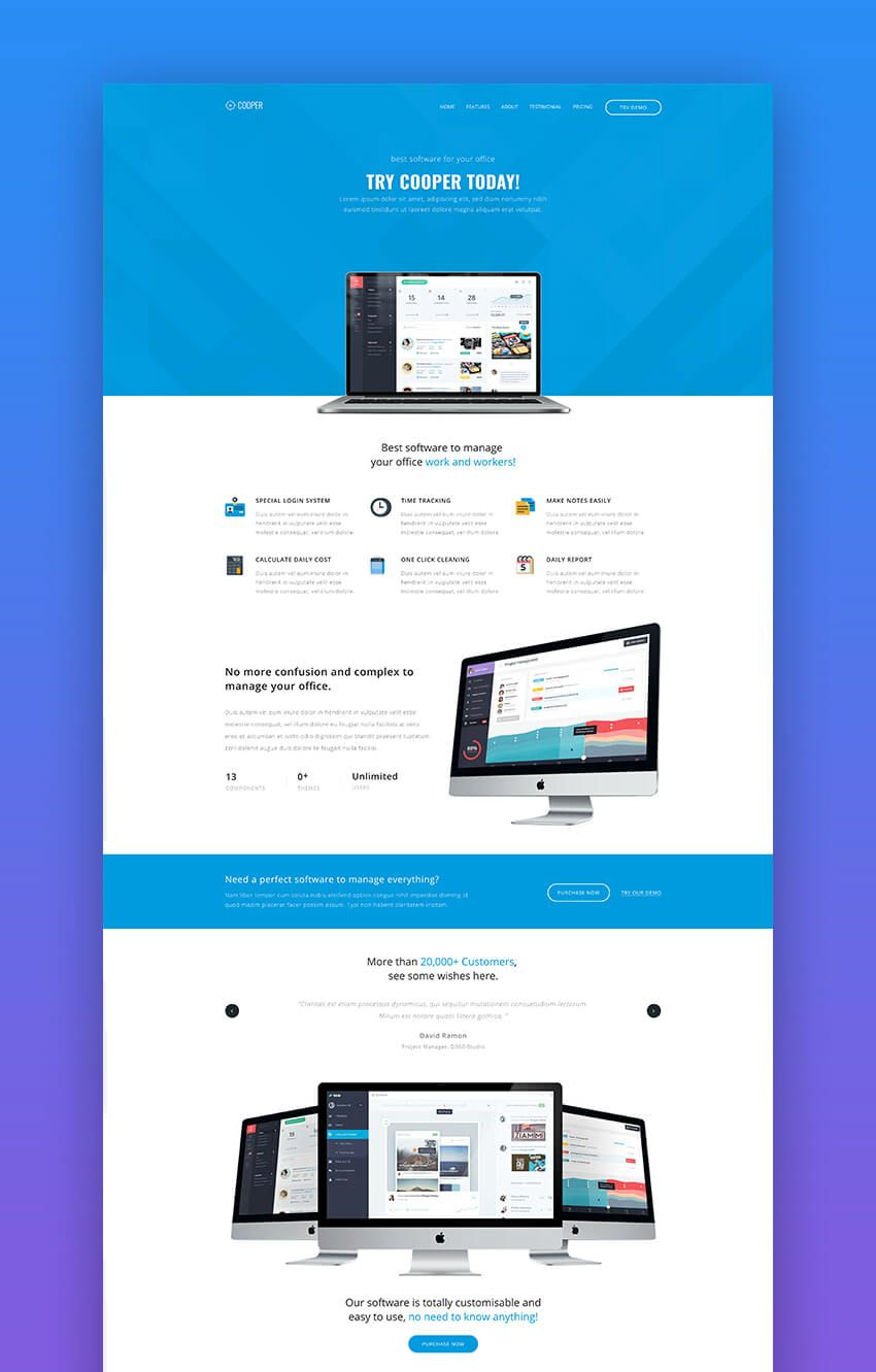Cooper Simple App Landing Page Template In 2020 Simple Web Design Web Design Tips Web Development Design