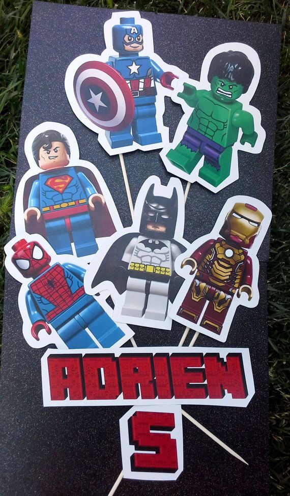 LEGO SUPERHEROES Personalized Party Centerpiece, LEGO Birthday Party ...