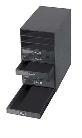 10 Drawer Black Leatherette Jewelry Storage Organizer 55397