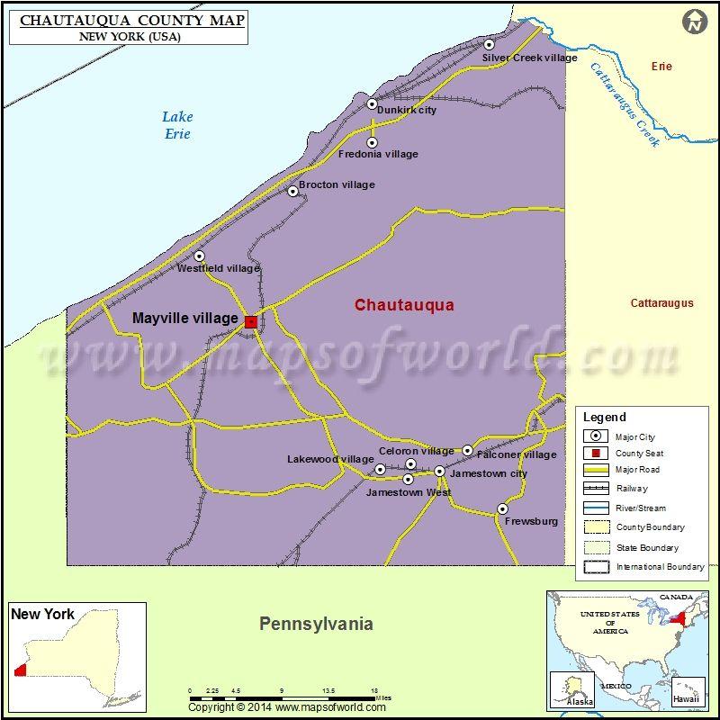 Chautauqua County Map for free download. Printable map of Chautauqua on