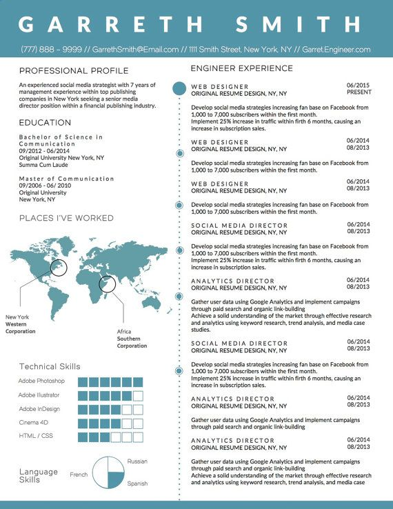 Infographic Engineer Resume Template for Microsoft Word with
