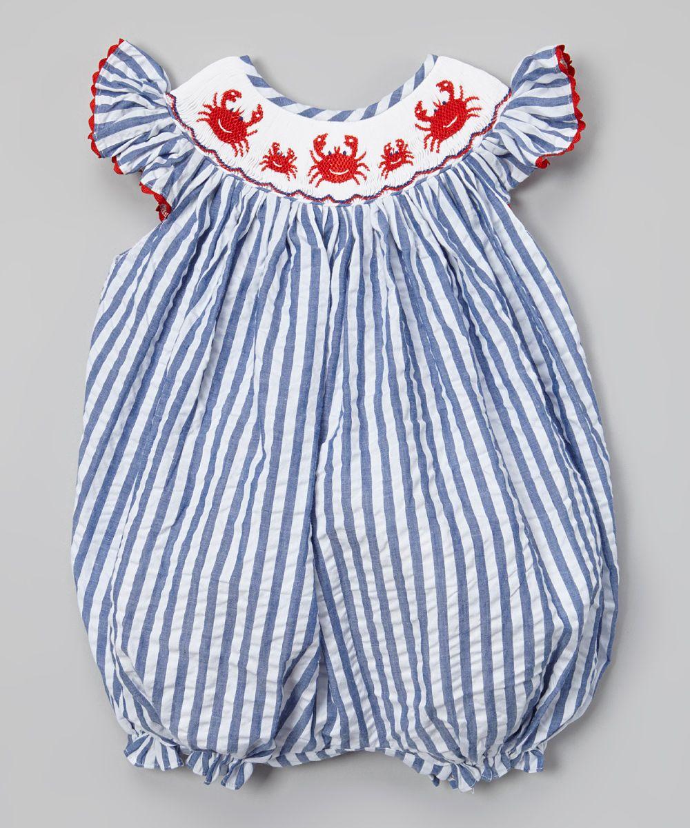 52c1e2529d2 Blue   White Crab Smocked Bubble Romper - Infant