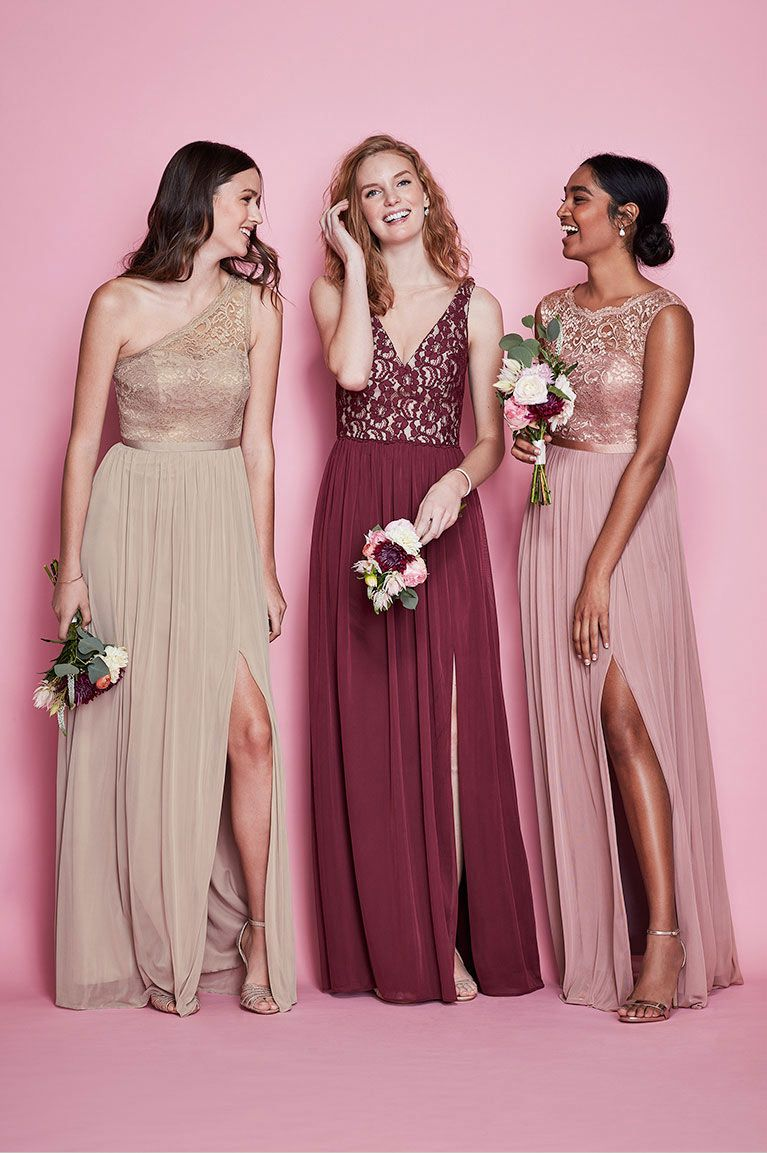 Three Bridesmaids in Mismatches Lace Dresses | Emily\'s Wedding ...