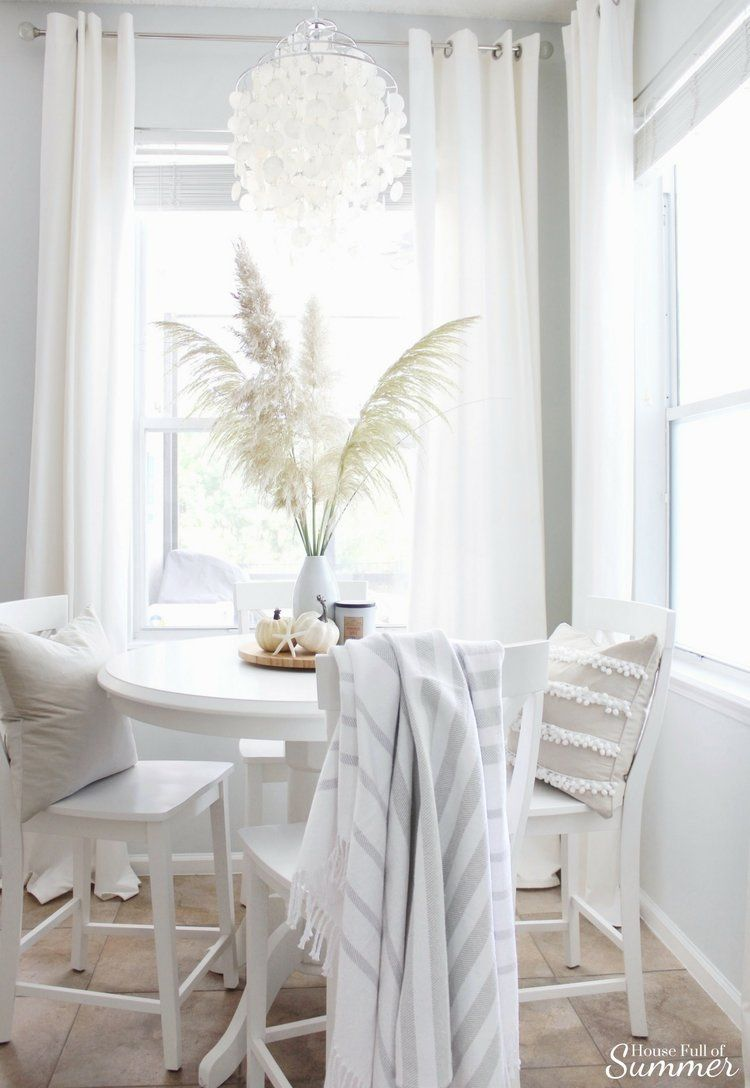 Coastal Chic Fall Home Tour Blog Hop House Full Of Summer Coastal Home Lifestyle White Dining Table Decor Dining Table Decor Dining Table Centerpiece