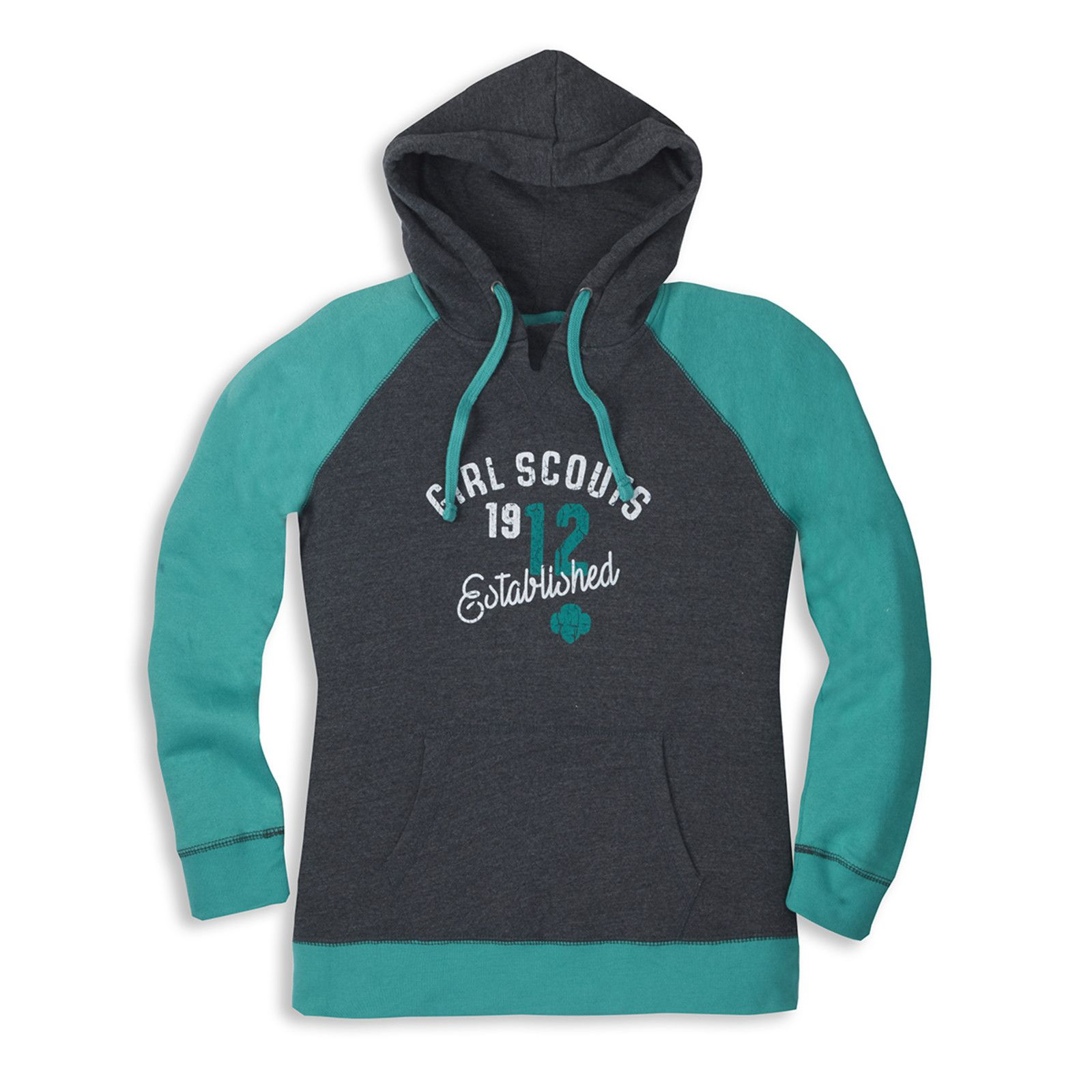 Two Tone Hooded Girl Scout Pullover Sweatshirt Raglan