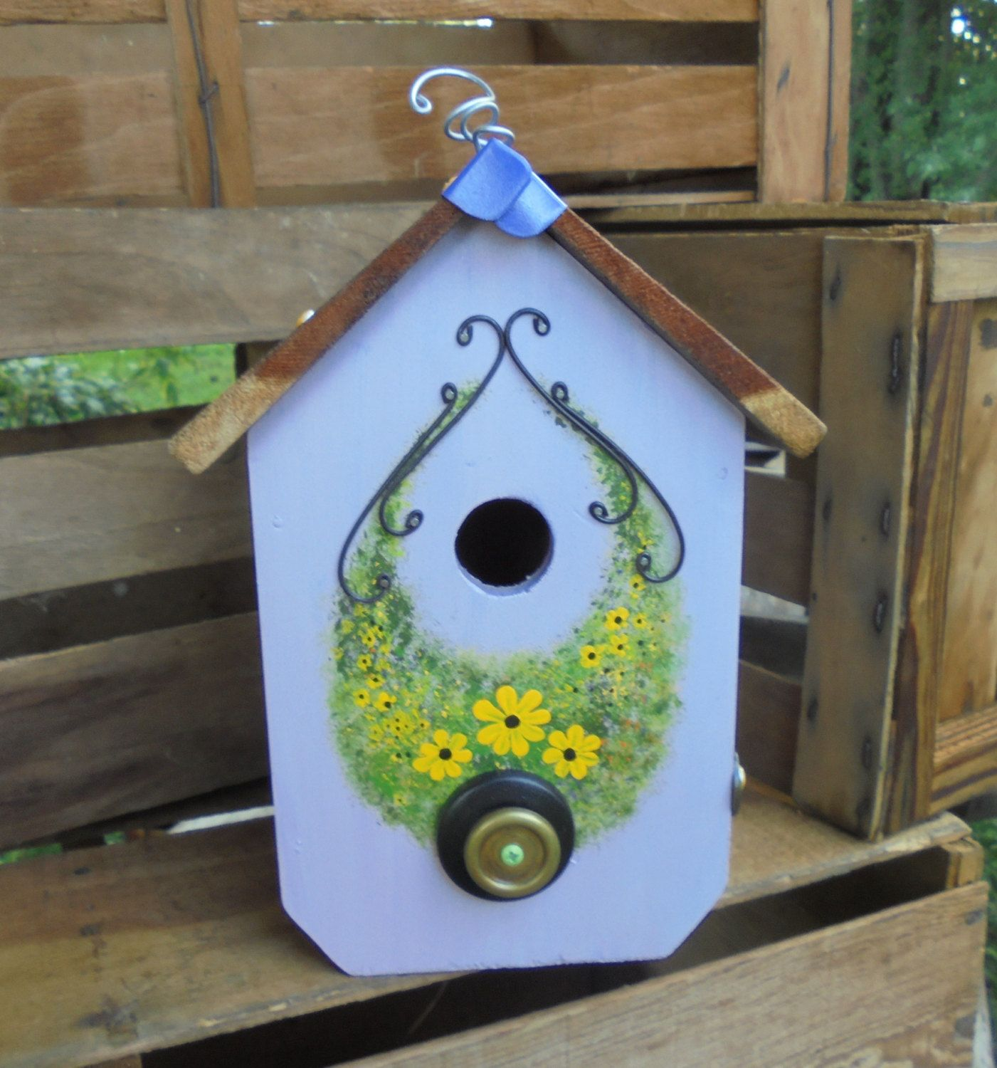 Purple Birdhouse with Hand Painted Floral Front by Imperfetions on Etsy