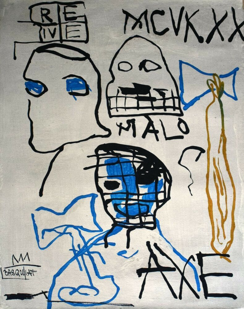 Vintage Abstract Canvas Signed Basquiat, Modern Art