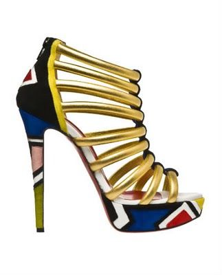 Christian Louboutin Ndebele platform heel 2011 with design detail from the  Ndebele tribe of South Africa