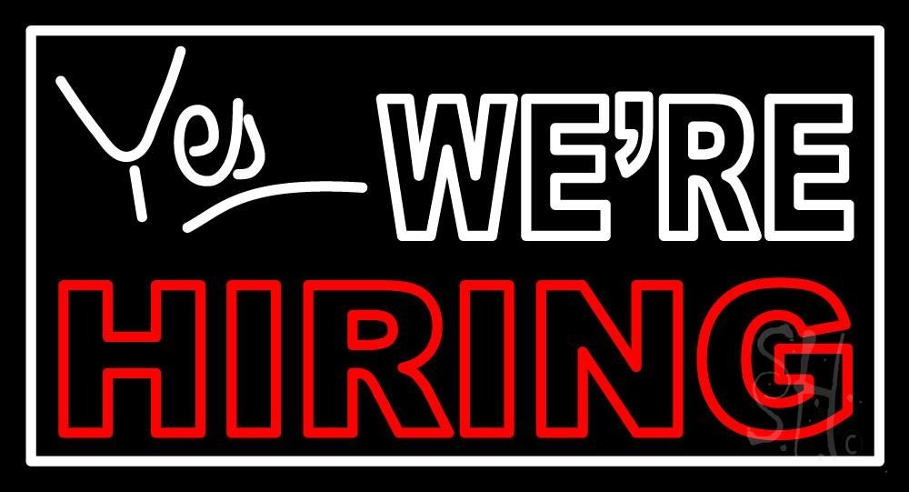 Yes We Are Hiring Neon Sign 20 Tall x 37 Wide x 3 Deep, is 100% Handcrafted with Real Glass Tube Neon Sign. !!! Made in USA !!!  Colors on the sign are Red and White. Yes We Are Hiring Neon Sign is high impact, eye catching, real glass tube neon sign. This characteristic glow can attract customers like nothing else, virtually burning your identity into the minds of potential and future customers.