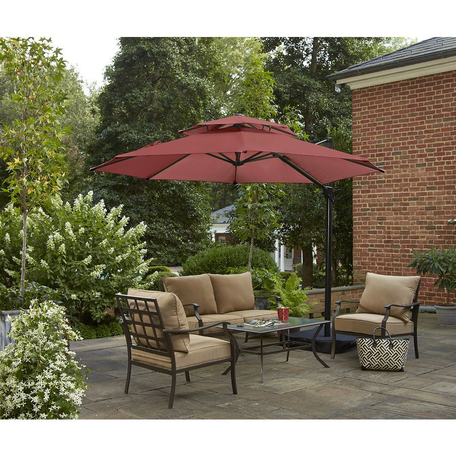 Garden Treasures Round Red Offset Patio Umbrella With Crank Common 10 Ft