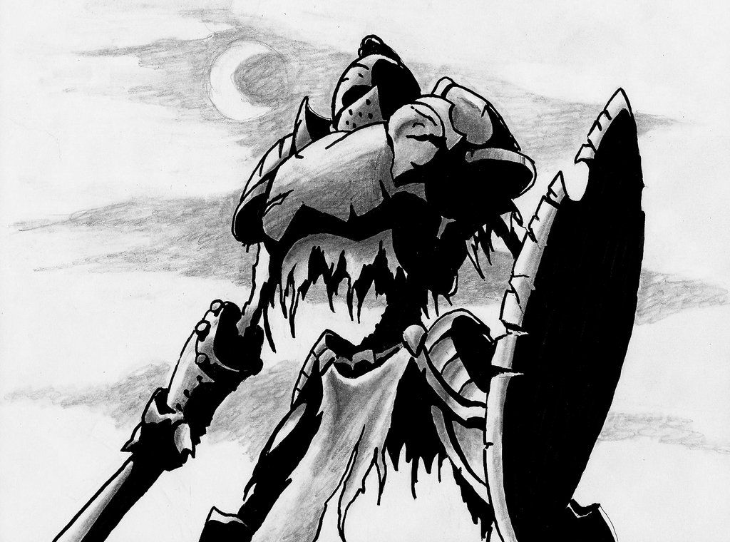 Undead knight by Knosis.  Gods of death create death knights. They are martial champions of evil. These horrible undead are most commonly raised from the ranks of blackguards, fighters, rangers, and barbarians; but a paladin who falls from grace near the moment of death may also become a death knight. Paladins who become death knights are subject to the same modifications as are presented for the blackguard.