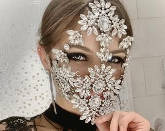Crystal Face Mask Envaly, Face Accessory, Face Vei