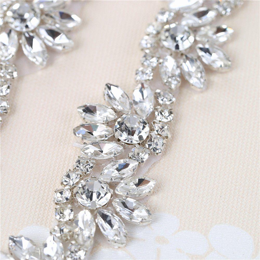 Bridal wedding dress sash belt applique 1 yard with