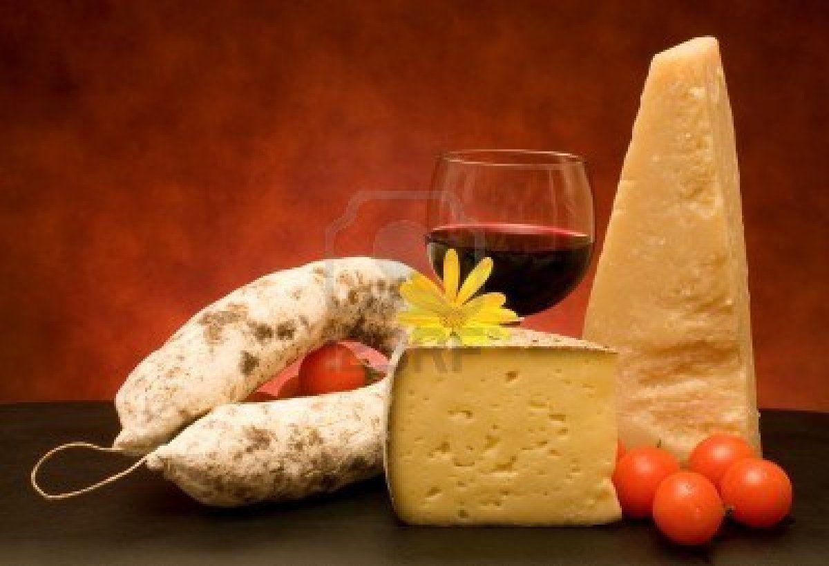 Italian Cheese Salami And Wine Peynir