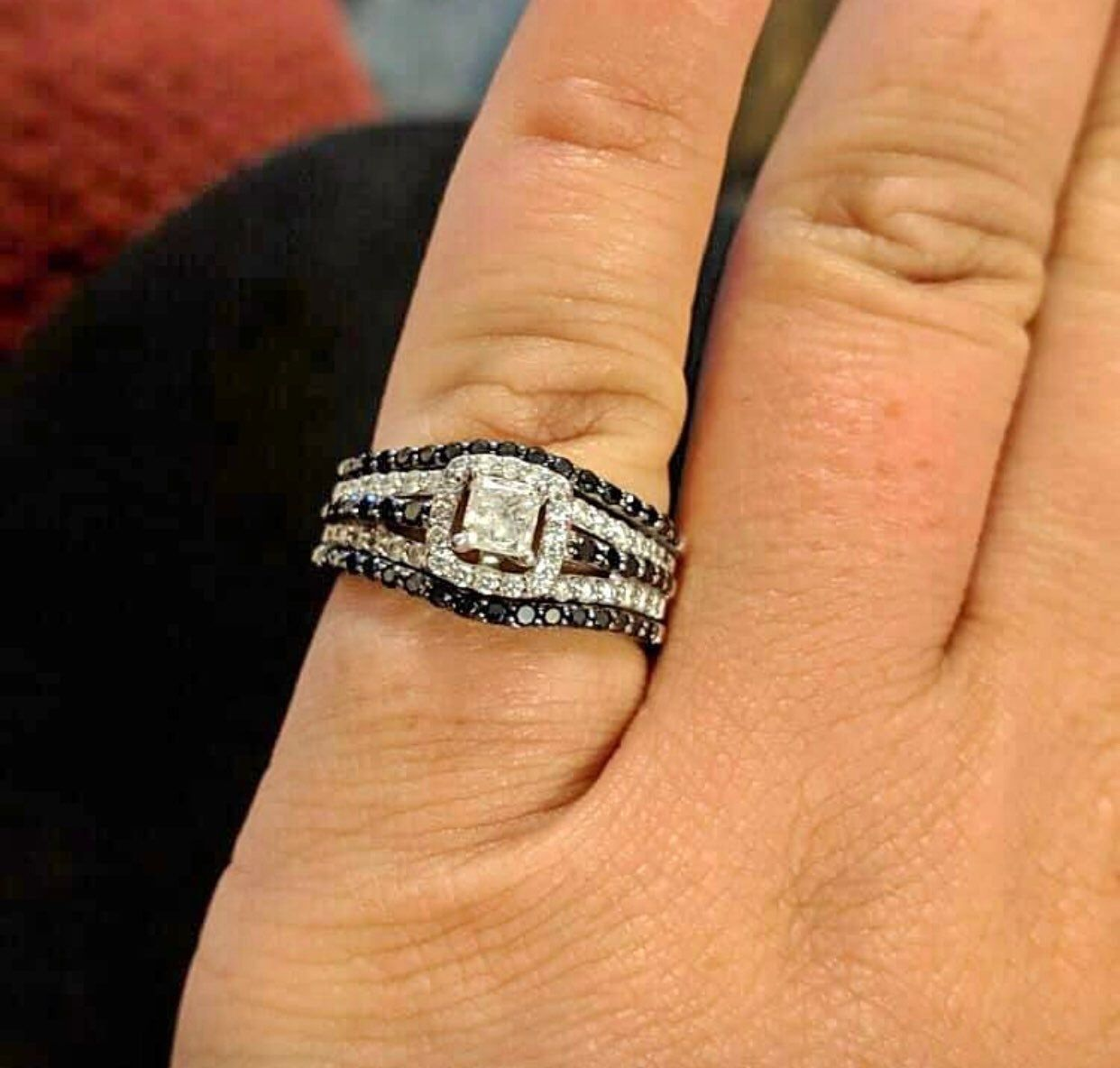 Black And Clear Diamond Set From Kay S Jeweler Paid 2 600 Size 8 5 Can Be Resized Under T Kay Jewelers Rings 14k White Gold Diamond Ring White Gold Diamonds