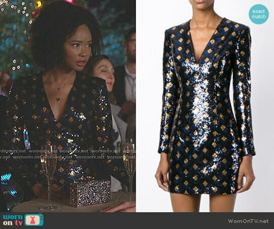 Monica S Blue Sequined Mini Dress On Dynasty In 2018 Dynasty Style