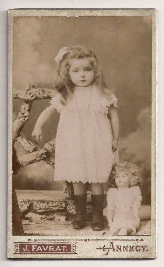 RARE CDV Original 1900 Antique French Victorian Carte De Visite Small Cabinet Card PhotographySweet Little Girl Studio Portrait With Doll