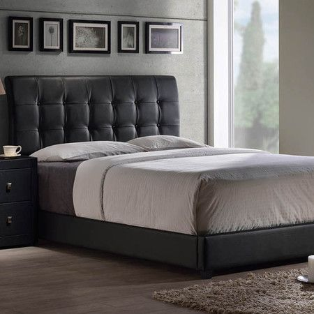 Wonderful Modern Furniture. Black Headboard. Grey Sheets. Dark Nightstand.  D