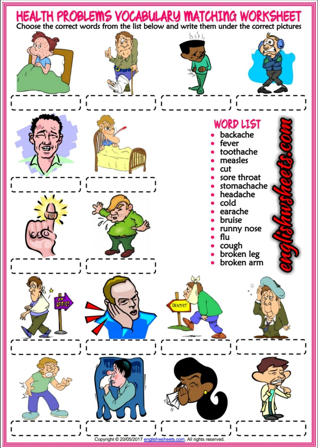 health problems illnesses ailments esl printable vocabulary