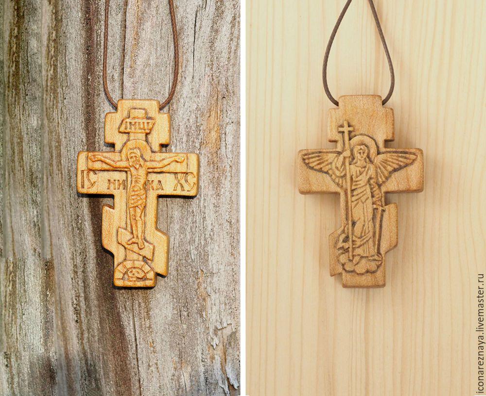 крест распятие с ангелом на обороте деревянный кипарисовый