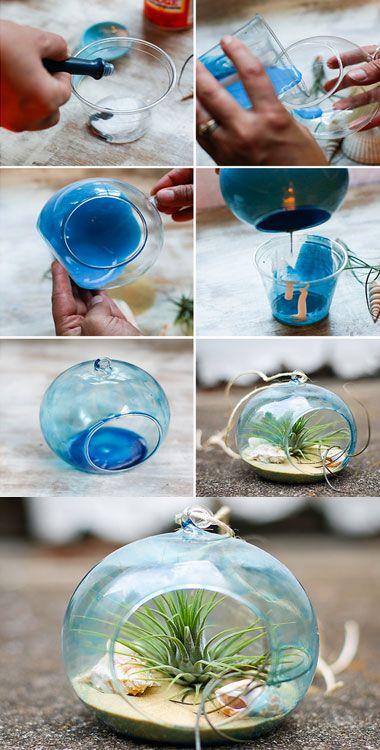 15 Diy Seashell Crafts For Kids Diy Tinted Glass Beach Terrarium