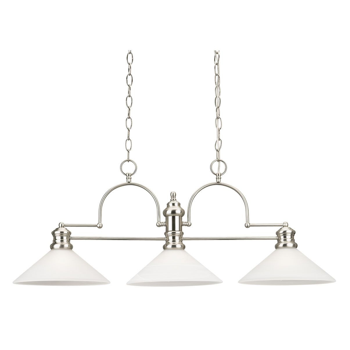 Westinghouse Lighting 6922200 3 Light Island Pendant Brushed Nickel Finish with Frosted White Alabaster Glass