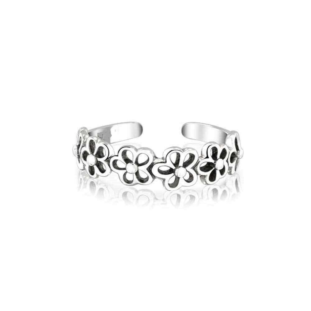 Daisy Flower Band Sterling Silver Toe Ring