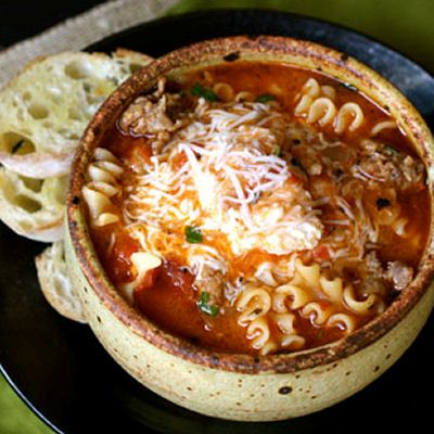 Lasagna Soup  - cook the pasta separate and add to each serving just in case of leftovers.
