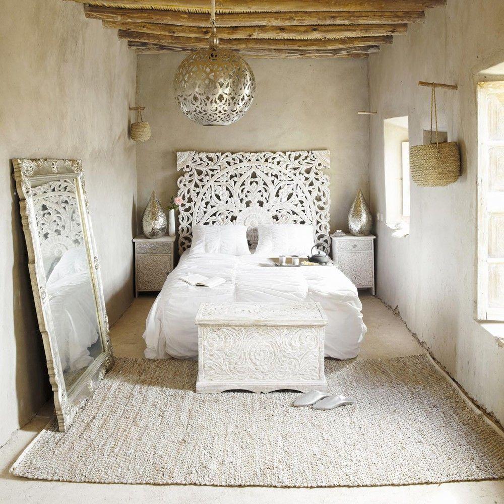 Geschnitztes 160 Bett Kopfteil Aus Massivem Mangoholz, Weiß Antik