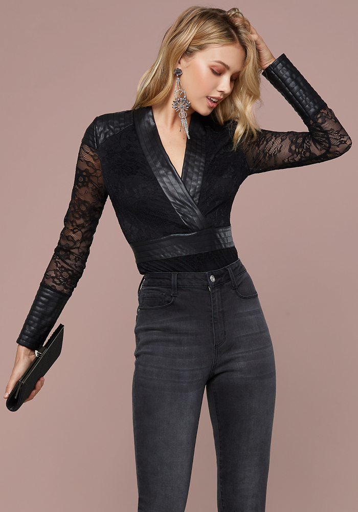 385983e7b Bebe Women's Grace Lace Wrap Bodysuit, XX Large, Jet Black ...