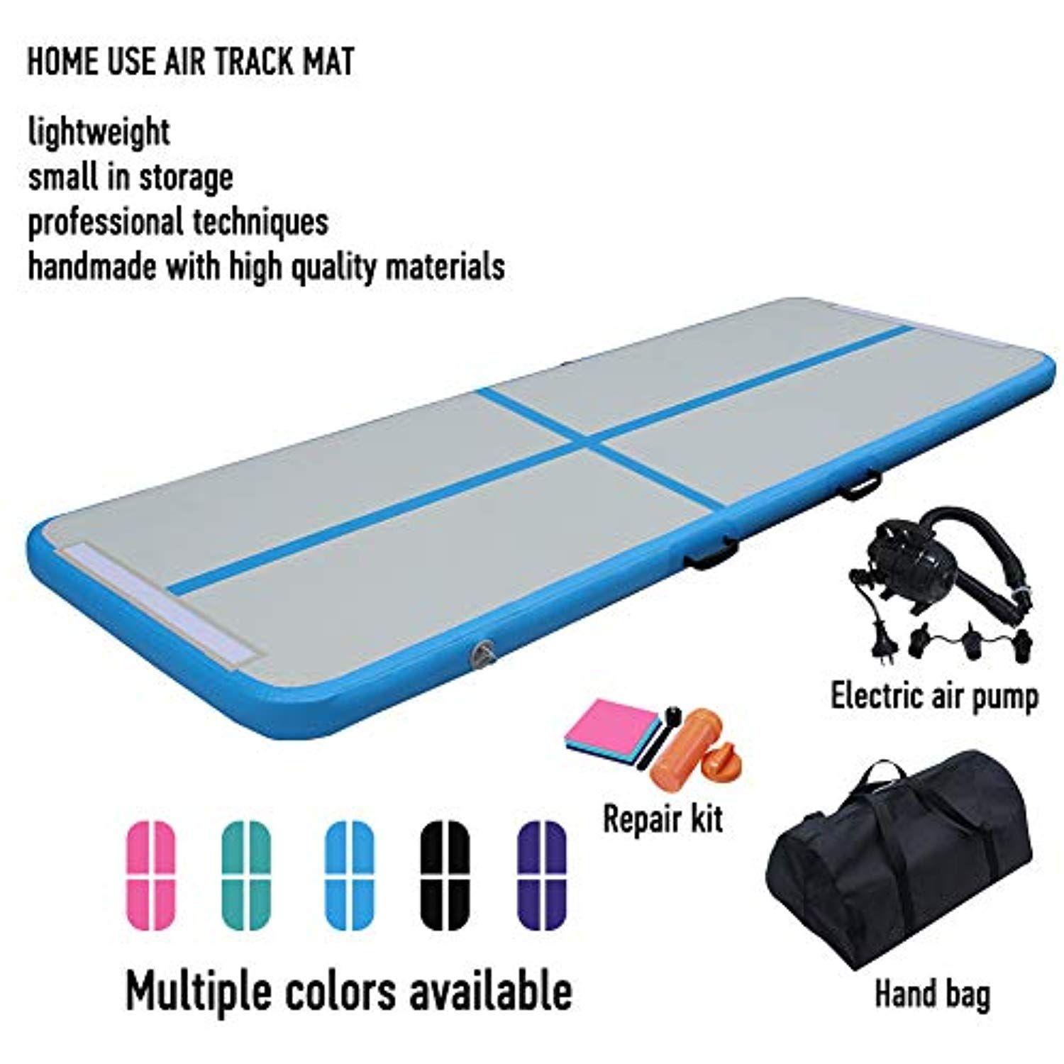 Dairtrack 10ft Air Track Tumbling Mat Inflatable Gymnastics Airtrack Mat Air Floor Mat With Electric Air Pump For Training Tumble Mats Cheerleading Air Pump