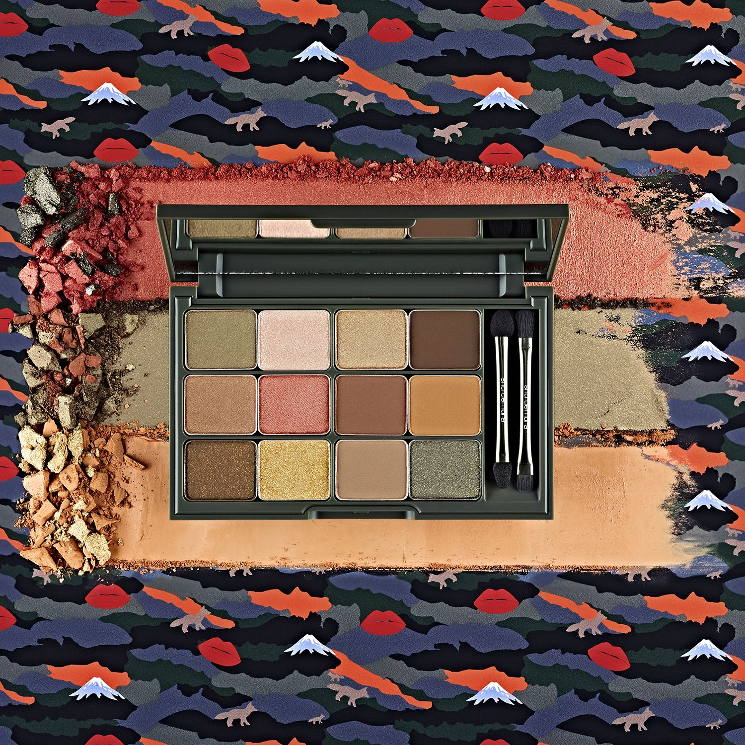 Camouflage Inspired Eye Palette In Earthy Tones Designed By Maison Kitsune For Shu Uemura The Palette Features Images Of Mt Fuji Lips And A Kitsune Fox The T
