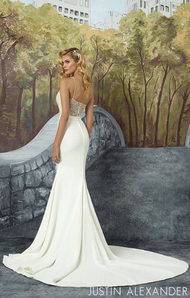 Modern And Elegant This Stunning Fit And Flare Gown Has A Square Illusion Neckline Wedding Dresses Simple Elegant Wedding Dress Justin Alexander Wedding Dress [ 1150 x 736 Pixel ]