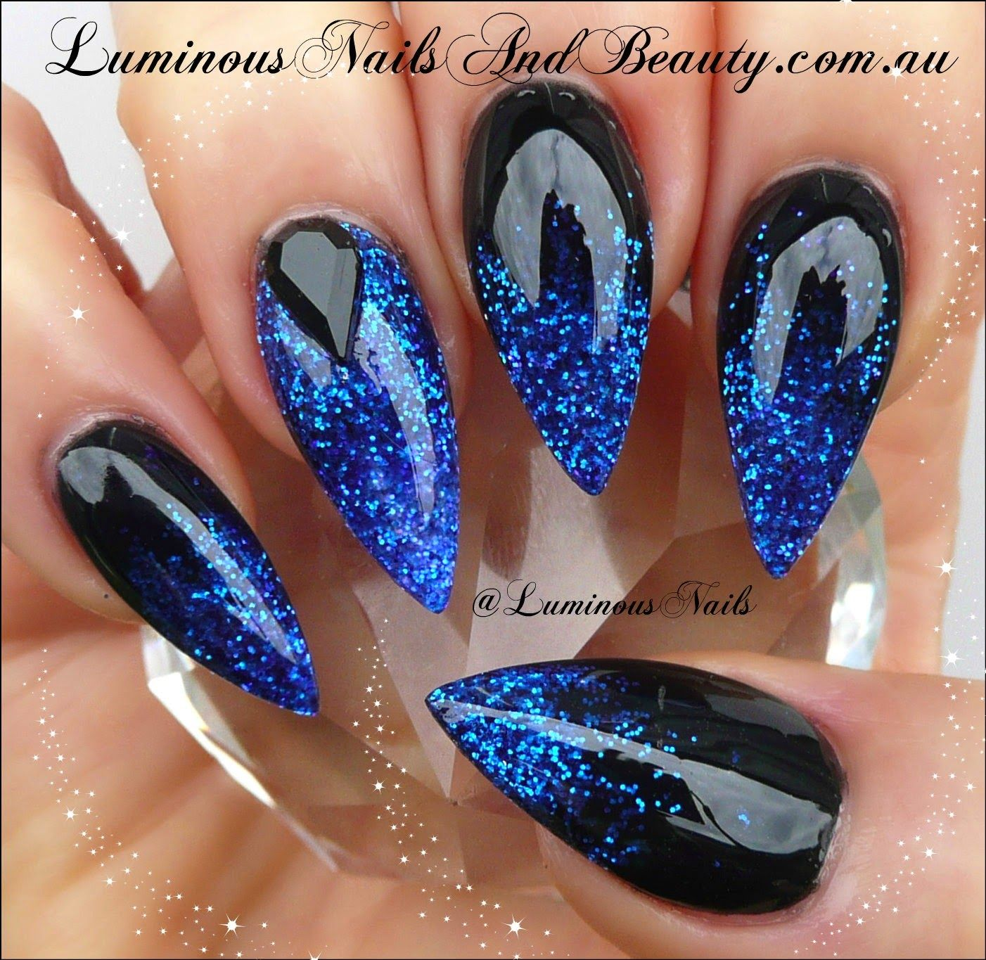 Luminous Nails: Black with Electric Blue Nails.minus the pointy nails i  love this - Way Too Pointy , But That Blue And Black Is Gorgeous . Nails