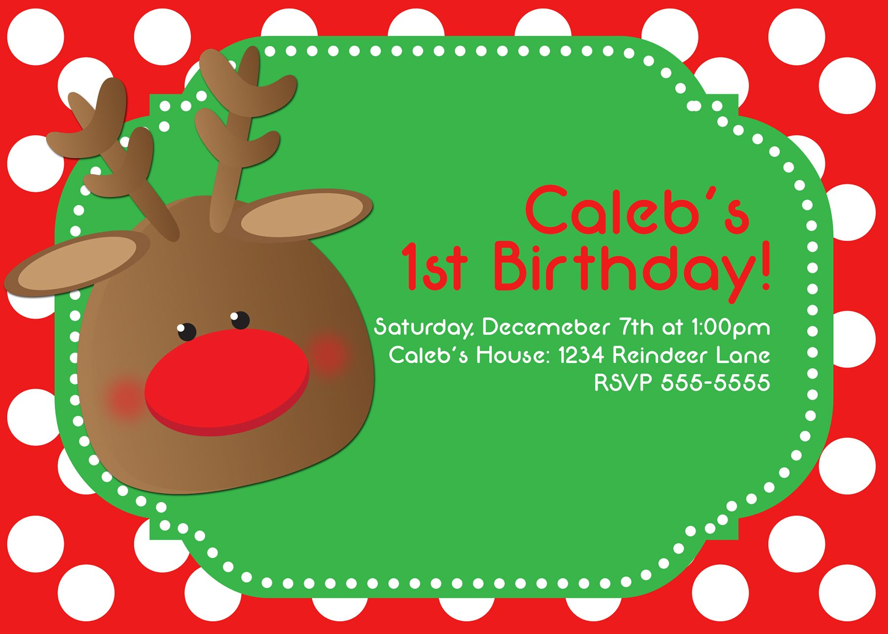 adorable cute christmas reindeer first birthday christmas party adorable cute christmas reindeer first birthday christmas party polka dot red and green invitations