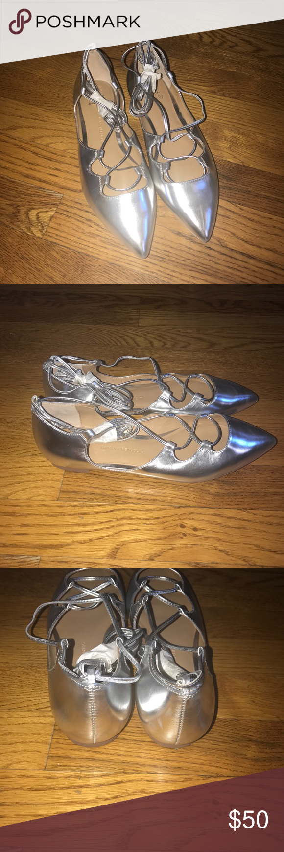 effe75ea32f Banana republic silver ankle strap ballet flats Perfect for the holidays! Banana  republic silver pointy