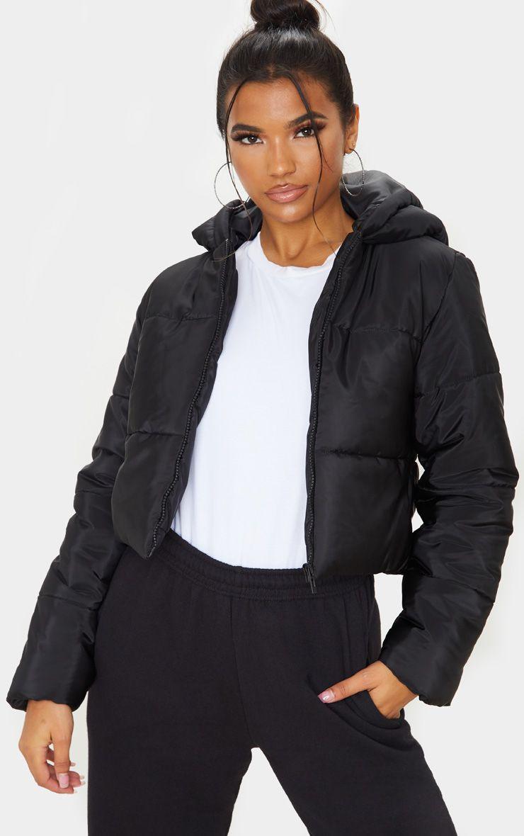 Black Hooded Cropped Puffer Coats For Women Black Puffer Jacket Pu Aviator Jacket [ 1180 x 740 Pixel ]