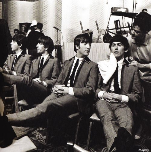Backstage at the Deauville Hotel in Miami, prior to their second live performance on the Ed Sullivan Show, 18 February 1964.
