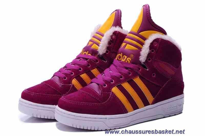 Nouveau Adidas X Jeremy Scott Big Tongue Anti Fur Winter Chaussures Dark Rouge