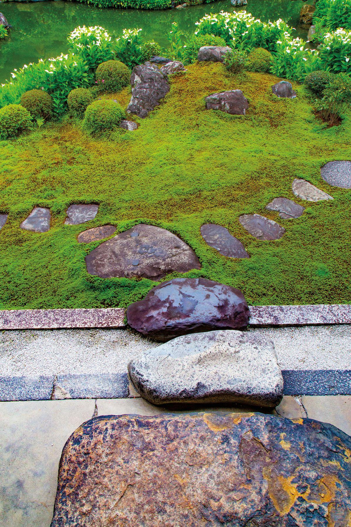 Stepping stone paths at Ryosokuin garden in Kyoto Japan