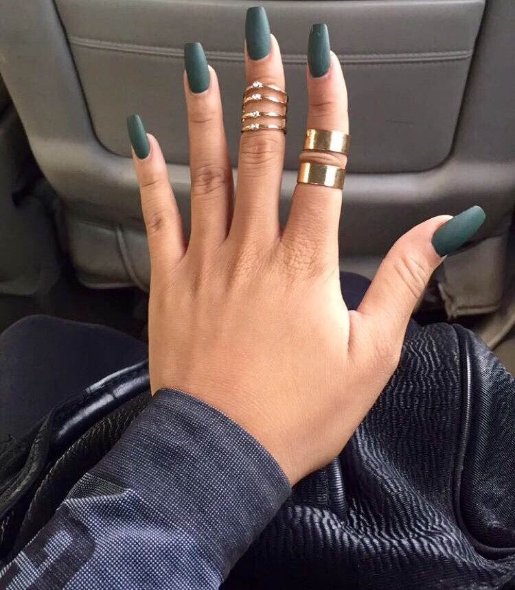 matte forest green coffin nails