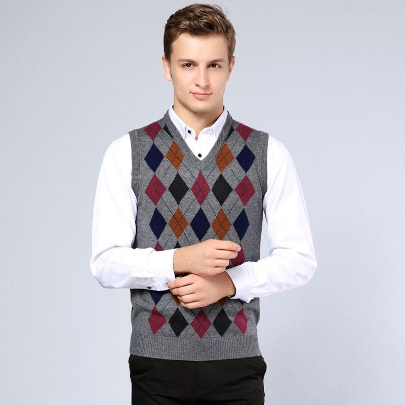New arrival fall v neck wool men's formal argyle sweater vest ...