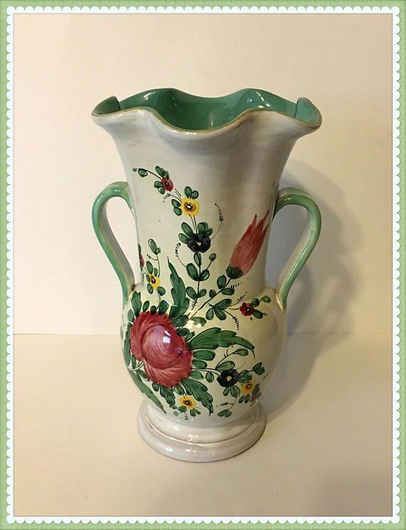 Vintage Vanro Italian Vase Pottery Mid Century Floral Vintage