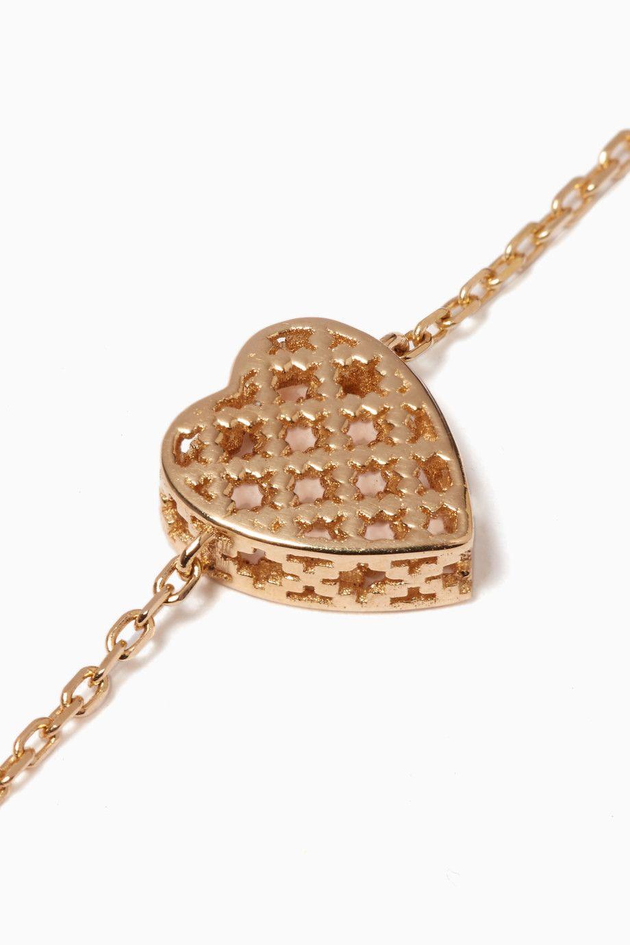 Shop luxury gucci yellowgold diamantissima heart bracelet ounass