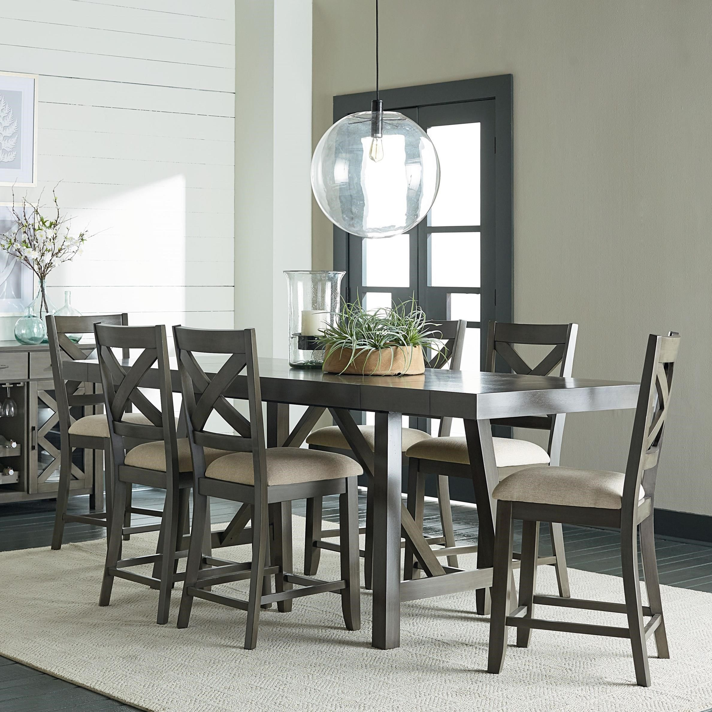 Omaha Grey Trestle Table Dining Set by Standard Furniture   Grey ...