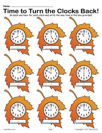 Fall Back Free Printable Fall Themed Telling Time Worksheet